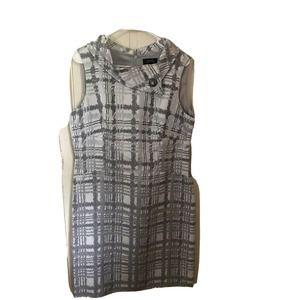 Tahari Light Gray Sleeveless Sheath Dress Size 14